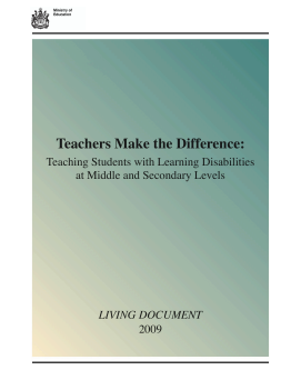 Teaching Students with Learning Disabilities at Middle and Secondary Levels