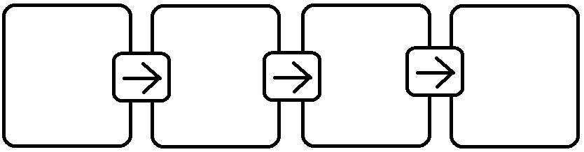 Boxes with arrows in between pointing in one direction representing an example of a linear connection map.