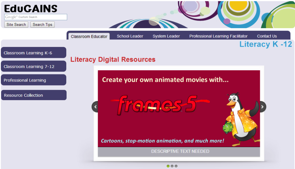 Image of EduGains Literacy Digital Resources website page
