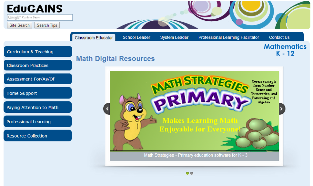 Image of EduGains Math Digital Resources website page