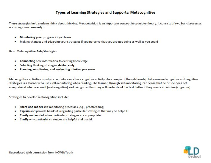 Metacognitive Strategies Or Thinking About My Thinking Ldschool