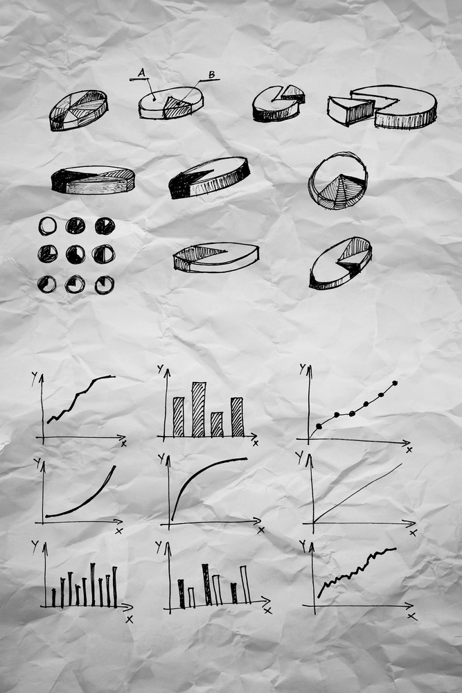 Image of Diagrams and pie Charts and other infographics drawings as design elements collection