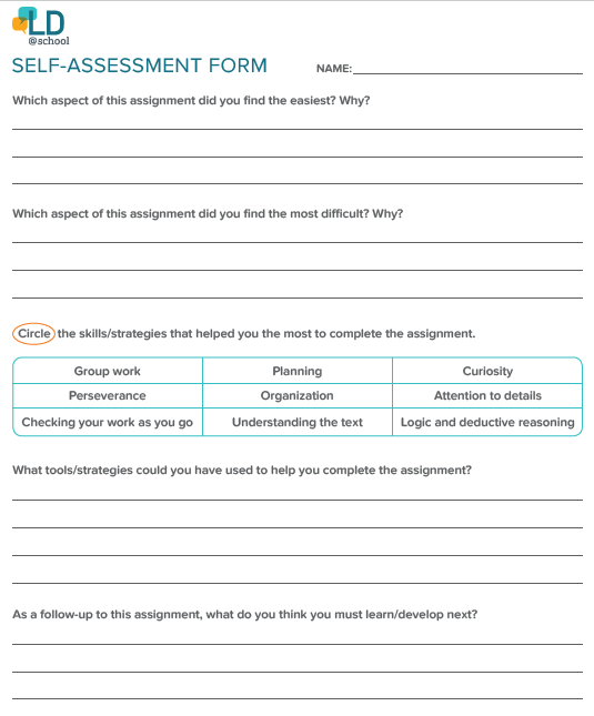 Self Assessment Ld School The personal swot analysis can also attach to it in order to make this self assessment form more. self assessment ld school
