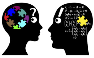 Image of two heads and math symbols