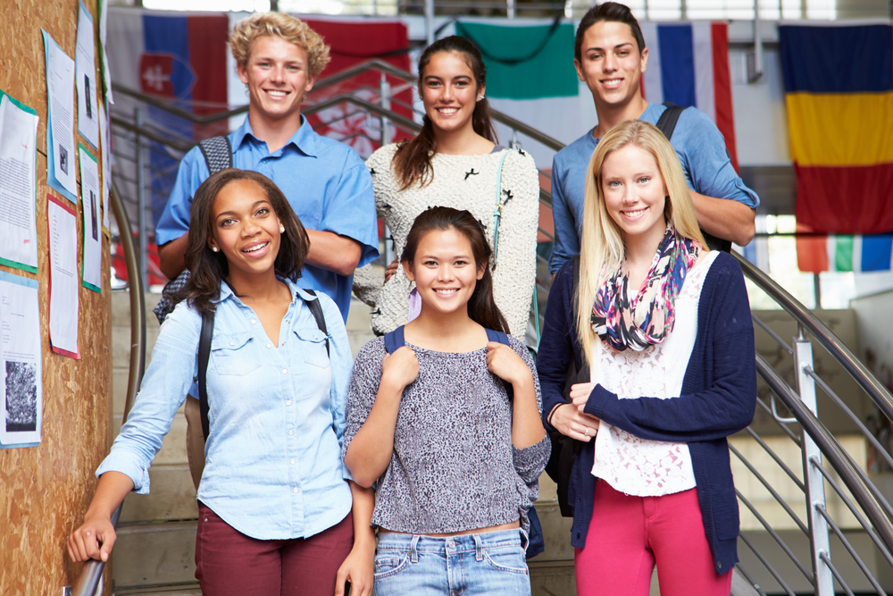 Diverse high school students