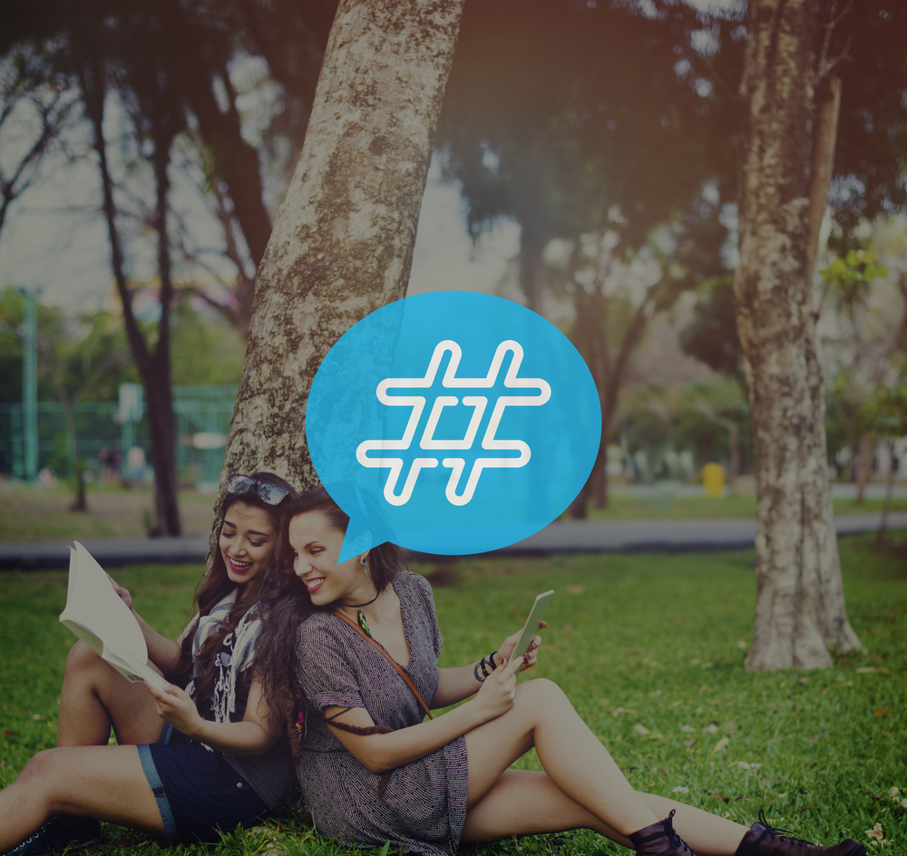Image of ltwo students with a hashtag