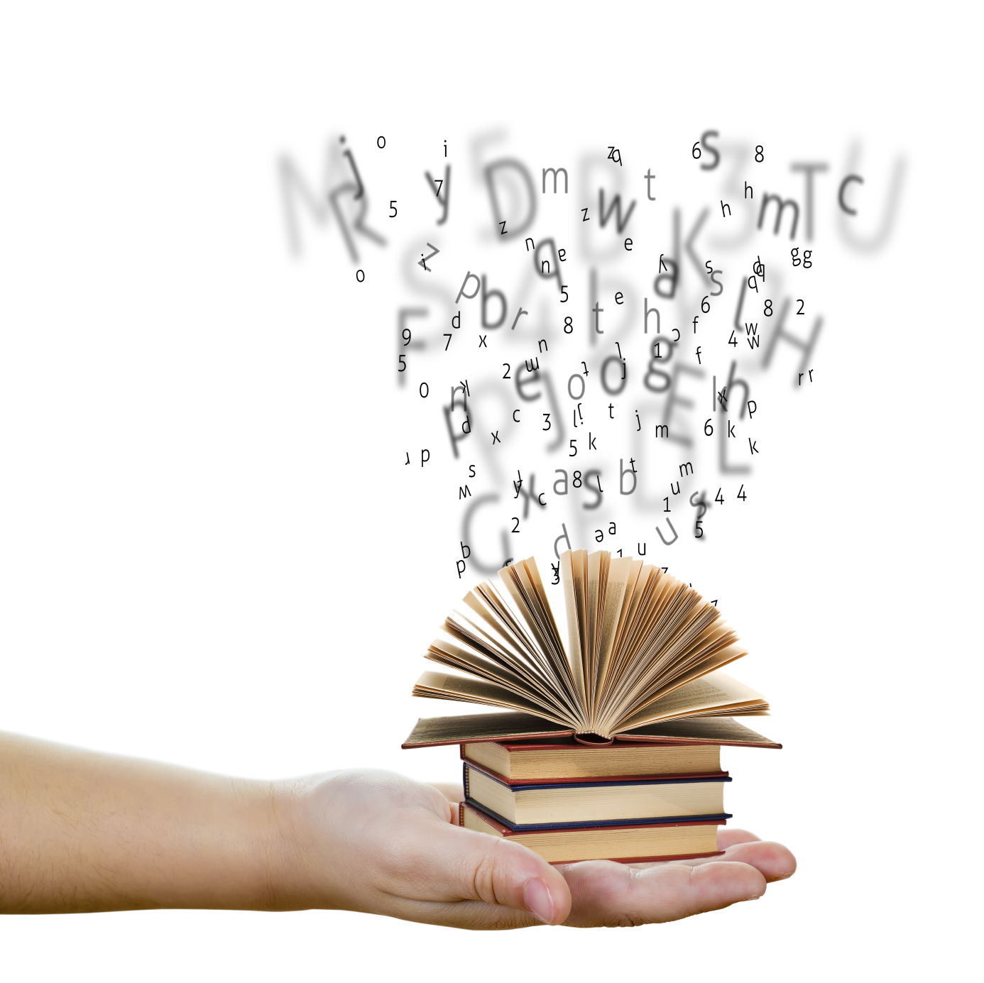 Image of a A hand holding books with words and letters representing education and knowledge concept