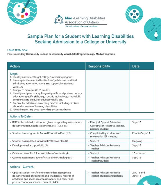 Image of the cover page: Sample Plan for a Student with Learning Disabilities Seeking Admission to a College or University