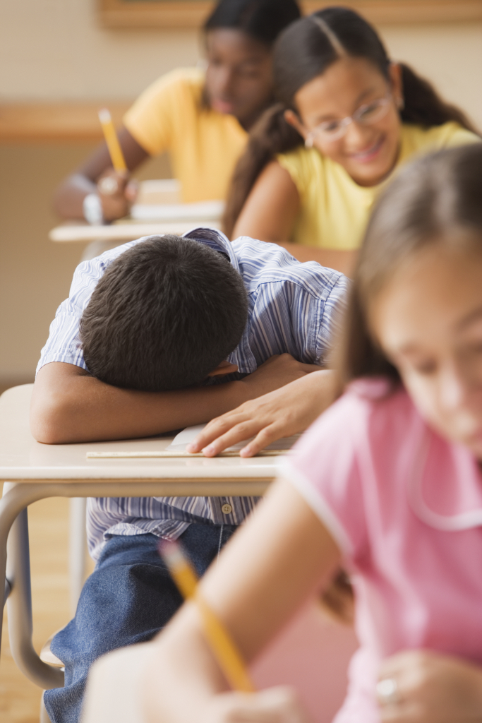 Image of a student Student asleep in class
