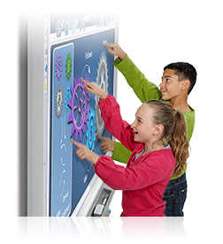 Image of two students using a smartboard