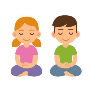 Cartoon students meditating