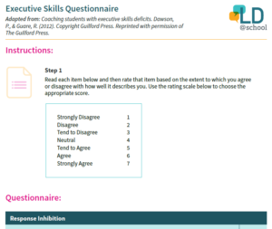 Preview image of the printable Executive Skills Questionnaire