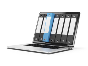 Laptop with organized folders