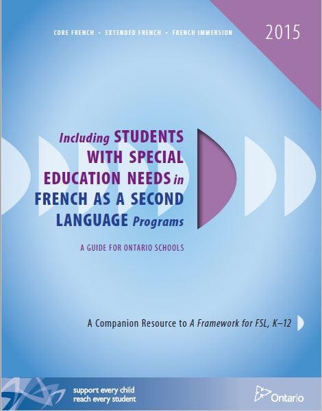 Image of the book: Including Students with Special Education Needs in French as a Second Language Programs: A Guide for Ontario Schools