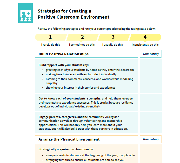 Preview of the document  Strategies for Creating a Positive Classroom Environment