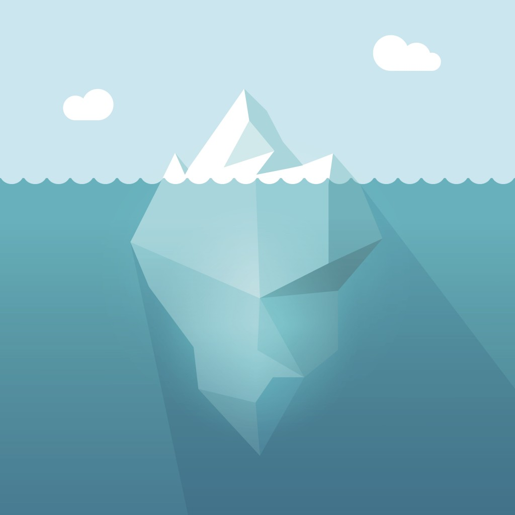 Cartoon of Iceberg in ocean water
