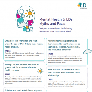 Preview of the document Mental Health & LDs: Myths and Facts