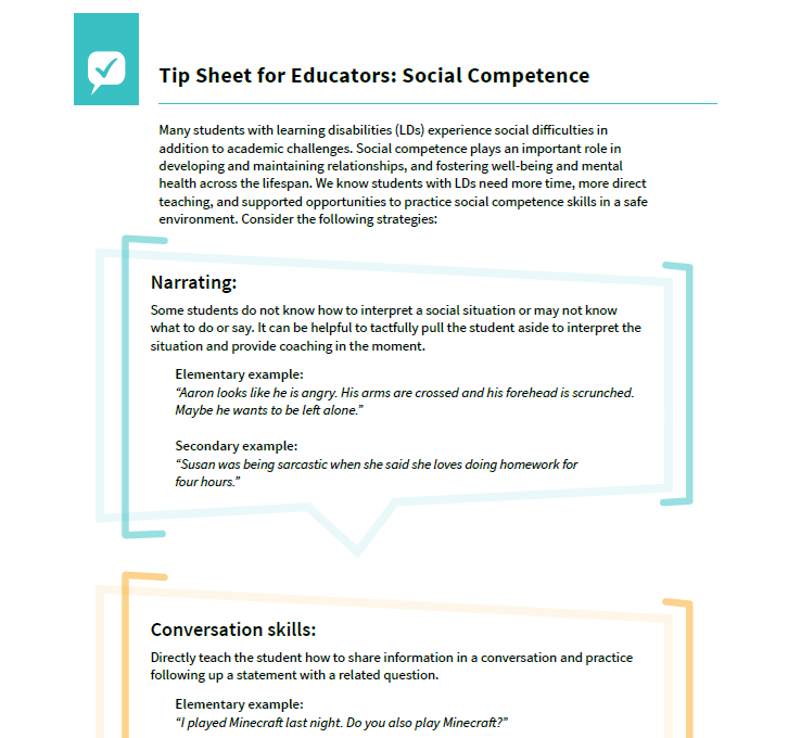 Preview of the documentTip Sheet for Educators: Social Competence