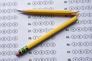 Picture of a test and a broken pencil