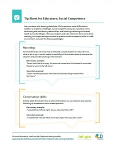 Image of the PDF: Tip Sheet for Educators: Social Competence