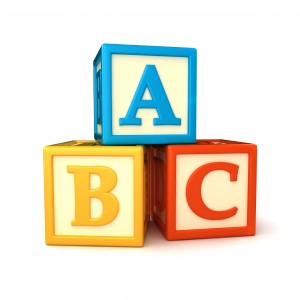 Blocks with the letters A, B, and C