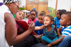 Teacher reading to a class