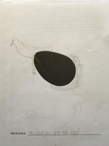 Drawing created by Participant A in a study to test for creativity. The participant was given a page with a black oval in the center and was asked to draw a picture around it. The participant drew a bird and a nest using the black oval as an egg.