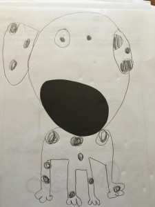 This is participant c's response to a study that tests for creativity. The participant was given a piece of paper with a black oval in the center and asked to draw a picture around the oval. The participant drew a dog using the oval as the dog's nose.