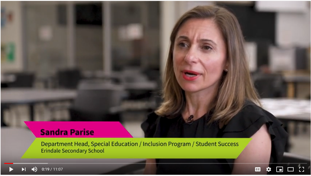 "Video still from ""Transitioning Students with LDs from Grade 8 to Grade 9"" featuring Sandra Parise talking to the camera,"
