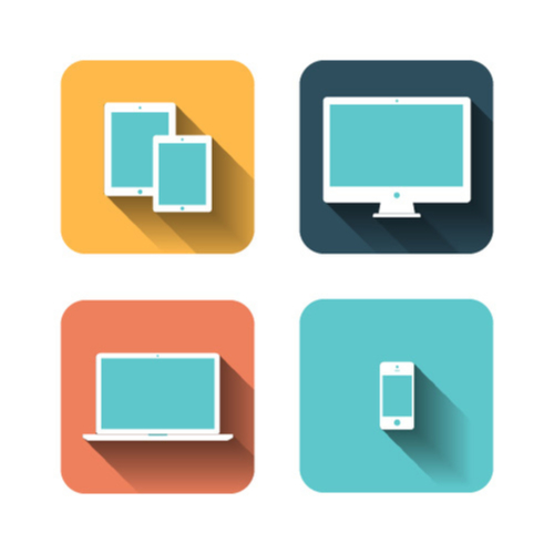 Image of 4 different types of technological devices - two tablets, one desktop monitor, a laptop, and a cell phone.