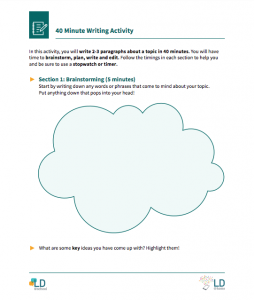 Image of 40 minute writing activity