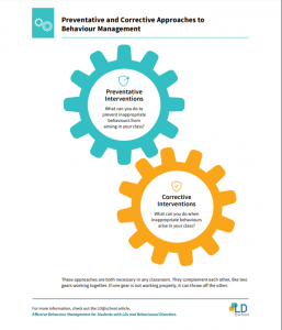 Preventative and Corrective Approaches to Behaviour Management