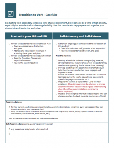 Image of Transition to Work Checklist