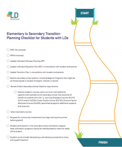 Elementary to Secondary Transition Planning Checklist for Students with LDs