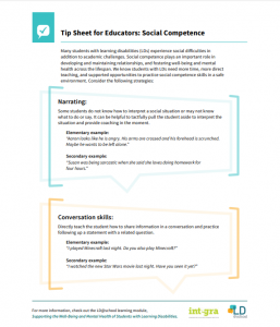 Tip Sheet for Educators - Social Competence