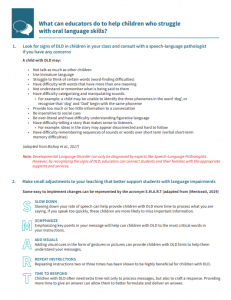 Tipsheet - How can educators support students struggling with oral language skills