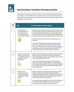 Post-secondary Transition Planning Checklist